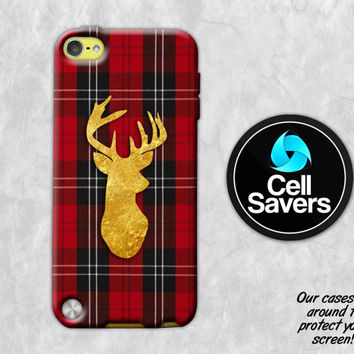 Gold Deer Red Plaid iPod 5 Case iPod 6 Case iPod 5th Generation iPod 6th Generation Case Gen Winter Christmas Red Flannel Deer Antlers Cute