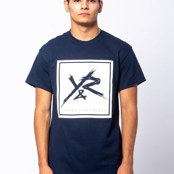 Square Logo Tee - Navy/White