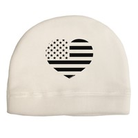 American Flag Heart Design - Stamp Style Adult Fleece Beanie Cap Hat by TooLoud