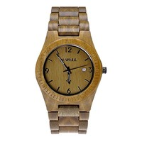 MEKU Handmade Wooden Wrist Watches Quartz with Solid Natural Sandalwood,Green