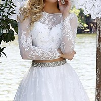 Short Lace Sherri Hill Dress with Long Sleeves