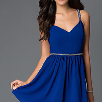 Royal Blue Short V-Neck Party Dress