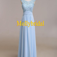 2015 Fashion Light Sky Blue Applique Lace Sheer Chiffon Sequins beaded Prom evening Dresses Formal Gown Dress