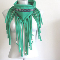 Fringe T Shirt Infinity Scarf with beads, Green tshirt scarf with Aztec trim, fringe scarf, bohemian scarf