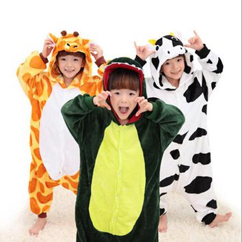 Children Boys Girls Unisex Pajamas Halloween Cosplay Costumes Animal Onesuit Sleepwear  Dog Unicorn Stitch Tigger Giraffe Pikachu