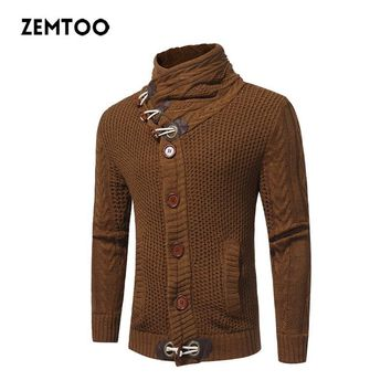 zemtoo Men'S Sweater 2017 Male Brand Casual Slim Sweaters Male Sweater Pullover Men Men Solid High Lapel Jacquard Hedging ZE0349