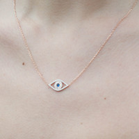 14K Rose Gold Evil Eye Necklace - Evil Eye Charm - Evil Eye Pendant - Evil Eye Jewellery - Rose Gold Necklace - Dainty Necklace