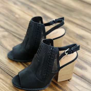 Barnes Stacked Heel Booties, Black