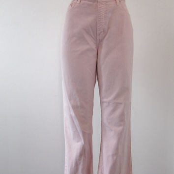 Pink Denim High Waisted Jeans Flared Bottom Pink Jeans Womens 14 High Waist Denim Jeans 35 Hippie Bell Bottom