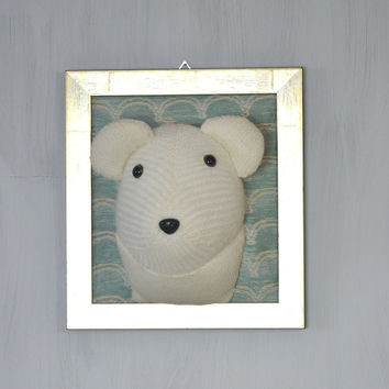 White bear Polar bear portrait Picture Soft sculpture Original Perfect gift Wall decor For home Teddy head Taxidermy White Blue Gold OOAK