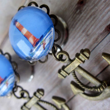 """One of a Kind - Pair of Lighthouse Plugs with Anchor Charms - Nautical Girly Gauges - 7/16"""", 1/2"""" (11mm, 12mm)"""