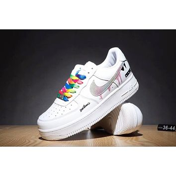 Nike Air Force Popular Women Men Leisure Rainbow Lace-Up Sport Running Shoe Sneakers White+Rainbow Hook I-CQ-YDX