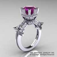 Modern Vintage 14K White Gold 3.0 Ct Amethyst Diamond Solitaire Engagement Ring R253-14KWGDAM