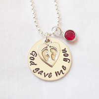 God Gave Me You Mother's Necklace ~ Hand Stamped, Sterling Silver, Baby Footprints, New Mom, New Baby, Mother's Day Gift