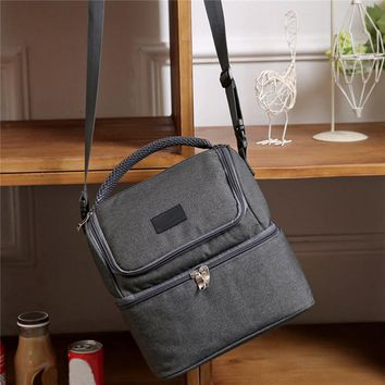7L Lunch Bag Insulated Picnic Daul Compartment Cooler Lunch Box Tote School Work Solid Thermal Lunchbox Food Bag Handbags Tote