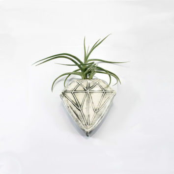 White Diamond Geometric Magnetic Clay Bud Vase | wall pocket holds water flower air plant pen holder | home garden decor | made to order