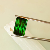 Green Tourmaline  Opposite Bar Cut 8.60 Carats Loose Gemstone for Fine Jewelry Ring or Pendant October Birthstone