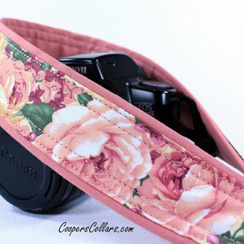 Pink Rose Roses dSLR Camera Strap, Pink and Gold Roses, SLR