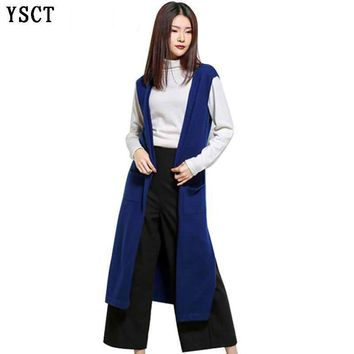 YUNSHUCLOSET 2017 women sleeveless long cardigan with a pocket of cashmere knitted fashion split style can match sweater