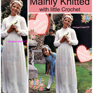 70s Vintage Knit and Crochet Pattern Wedding Dress + Child Bridesmaid's Dress lovely romantic bridal party bride bridal pattern maxi dress