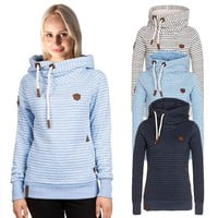 Loose Striped Hooded Embroidered Sweater