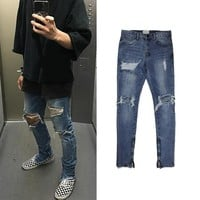 2018 NEW KANYE WEST Fear of god Boots Jeans Mens justin bieber ripped jeans for men Bottom Side zipper Skinny jeans Blue 30-36