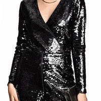 Black Romper with Sequin Detail