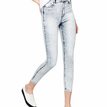 High Waist Skinny Denim Cropped Pants
