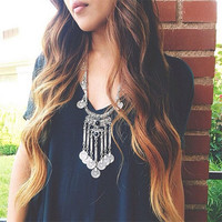 Ethnic Tribal Turkish Boho Coin Chain Necklace
