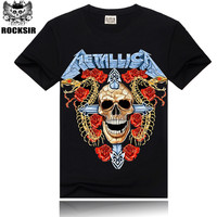 Size S-XXXL Rocksir Tee Men  Black T-Shirt Cotton Skull Metallica Print Rock Hip Hop Heavy Metal Punk Streetwear Black