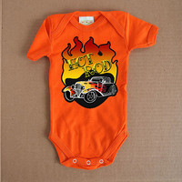 Orange Hot Rod Tattoo Baby Romper 3 6 9 12 month Bodysuit Classic Car tshirt Flames Old School Trendy Toddler Clothes. Rockabilly Baby Boy
