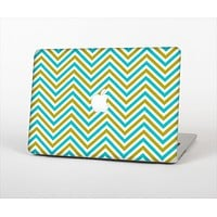"""The Gold & Blue Sharp Chevron Pattern Skin Set for the Apple MacBook Pro 13"""" with Retina Display"""
