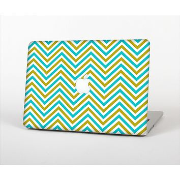 The Gold & Blue Sharp Chevron Pattern Skin Set for the Apple MacBook Air 13""