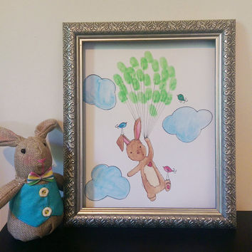 Baby Shower Rabbit Thumbprint/ Fingerprint Guestbook Keepsake, nursery art, fingerprint balloons guestbook, custom art