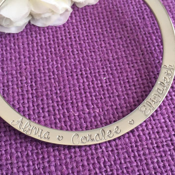Personalized Bracelet - Bangle Bracelet  - Mother's Jewelry - Gift for her - Custom Bracelet - Hand stamped - High quality - Stainless steel