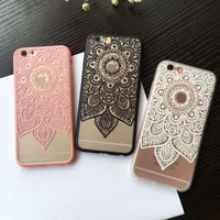 New Mandala Retro Vintage Datura Flower Style Phone Case For iPhone 6 6s plus 7 7Plus PC Hard With Bowknot Hole Camera Cover