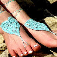 Crochet Barefoot Sandals Heart, Aqua Nude shoes, Foot jewelry, Wedding, Sexy, Yoga, Anklet , Bellydance, Steampunk, Beach Pool, Seafoam
