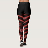 Black and Red Stripes Pattern Striped Leggings