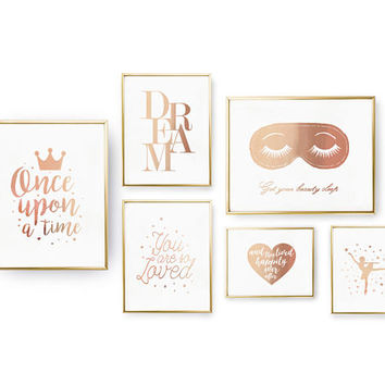 SET of 6 Prints, Get Your Beauty Sleep, Bedroom Decor, Real Gold Foil Print, Typography Wall Art, Ballerina Poster, Home Decor, Dream Set