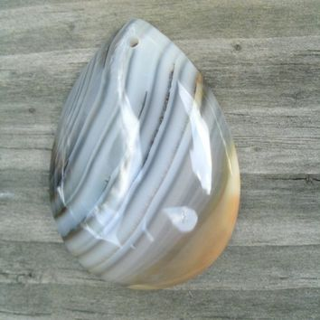 Banded Teardrop Agate Pendant Bead, beautifully banded, Botswana agate, jewelry supply, DIY pendant stones, polished and drilled, rocks