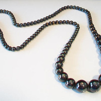 Vintage Black Iridescent Beaded Necklace Graduated Costume Jewelry