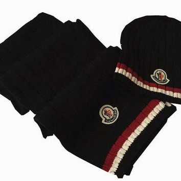 Moncler Fashion Beanies Knit Winter Hat Cap Scarf Scarves Set Two-Piece G