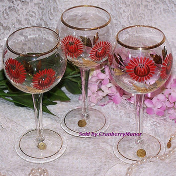 SALE 3 Romania Red Wine Glass Goblet, Handpainted Flower Pattern w/ Original Paper Tags, Vintage Designer Signed Serving Home Decor Lot Set