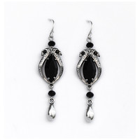Black Swarovski Crystal Dangle Earrings