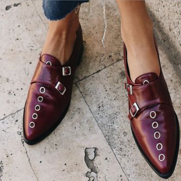 New style individual character popularity contracted leather shoes with pointy buckle