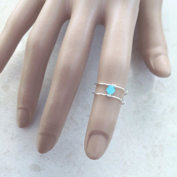 Bohemian Ring, Turquoise Ring, Frozen, Knuckle Ring, Sterling Silver Ring, Toe Ring, Pinky Ring, Thin Ring, Simple Ring, Boho Ring