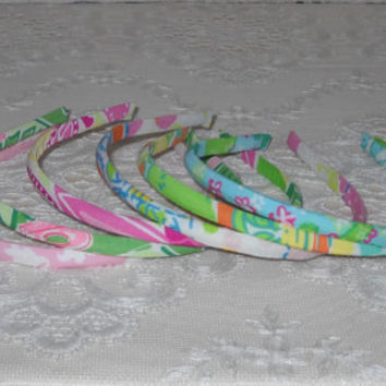 Preppy Set of 6 Teeny Lilly Pulitzer Fabric Headbands - Set 1