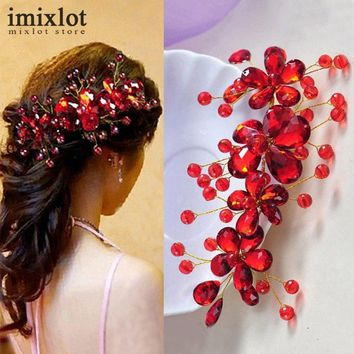 Hot Sale Red Flower Crystal Bridal Hair Accessories Bridal Hair Clip Hairpin Tiara Wedding Hair Accessories Hair Jewelry
