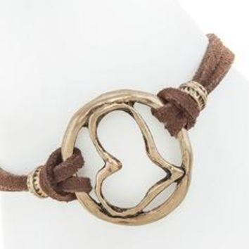 Heart Outline Cord Faux Brown Leather Toggle Bracelet - Antique Gold Plated