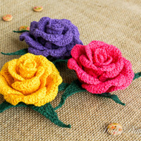 Crochet Rose Pattern and Instructions - Crochet Flower Pattern - Crochet Pattern - Brooch Pattern - Hybrid Tea Rose - INSTANT DOWNLOAD